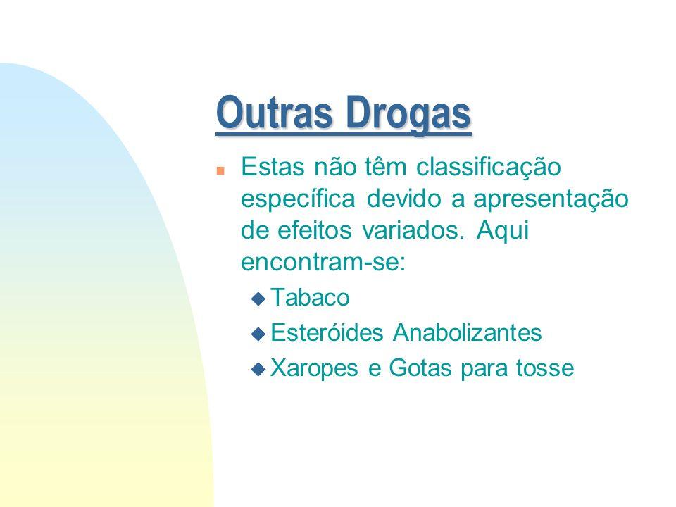 Outras Drogas Estas não têm classificação específica devido a apresentação de efeitos variados. Aqui encontram-se: