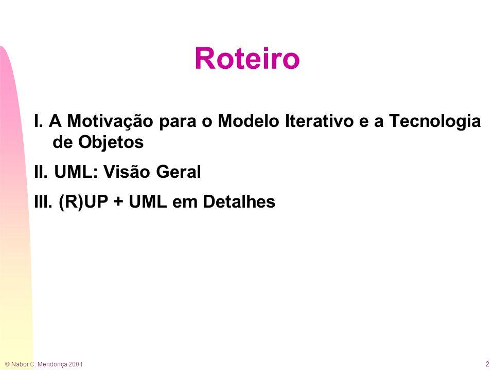 Roteiro I. A Motivação para o Modelo Iterativo e a Tecnologia de Objetos.