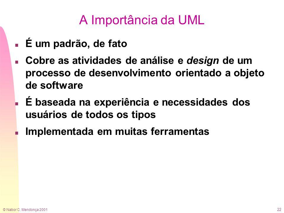 A Importância da UML É um padrão, de fato