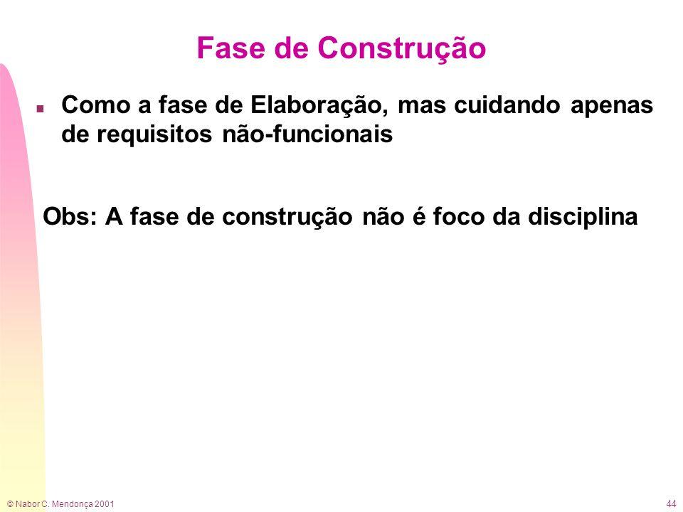 Fase de Construção Como a fase de Elaboração, mas cuidando apenas de requisitos não-funcionais.