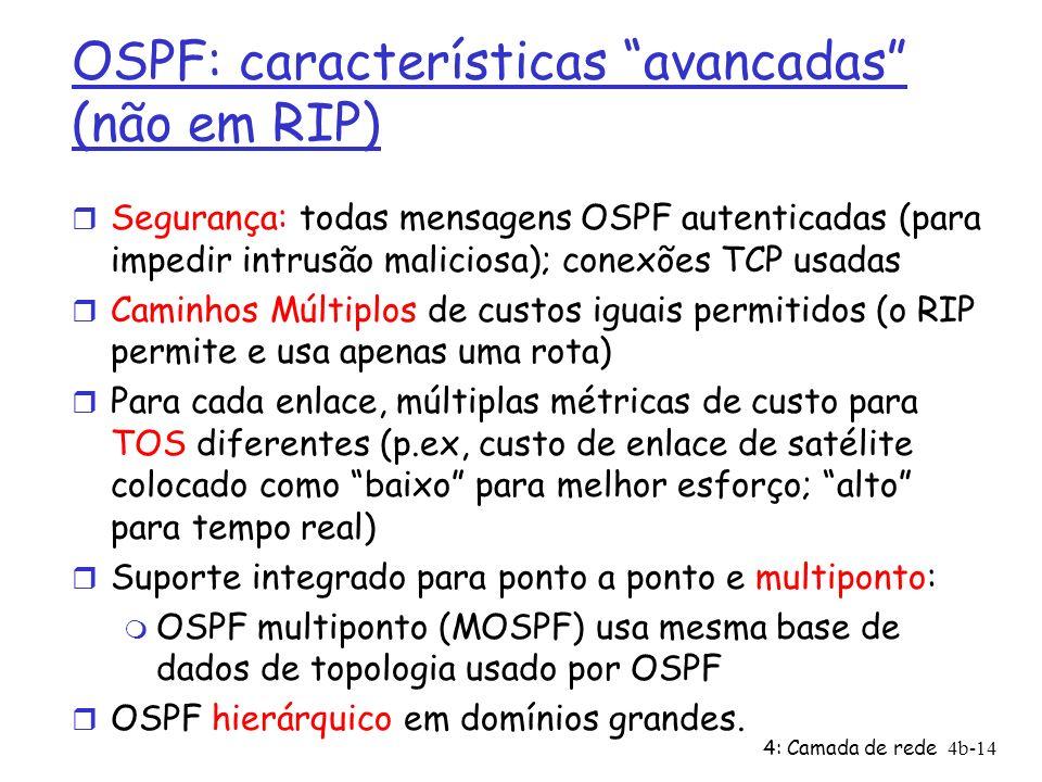OSPF: características avancadas (não em RIP)