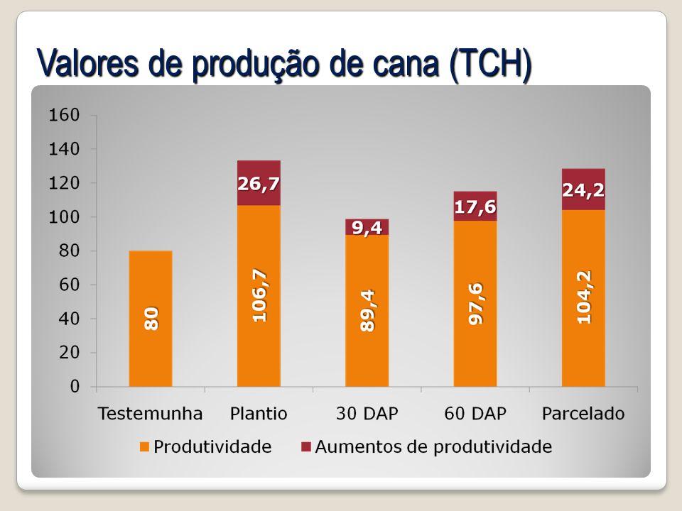 Valores de produção de cana (TCH)