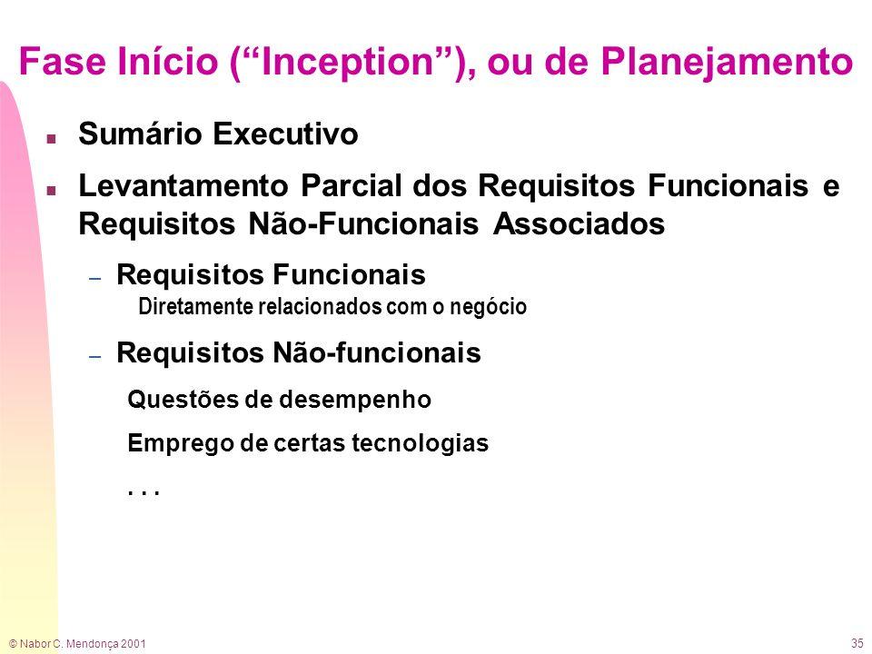 Fase Início ( Inception ), ou de Planejamento
