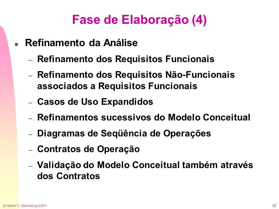 Fase de Elaboração (4) Refinamento da Análise