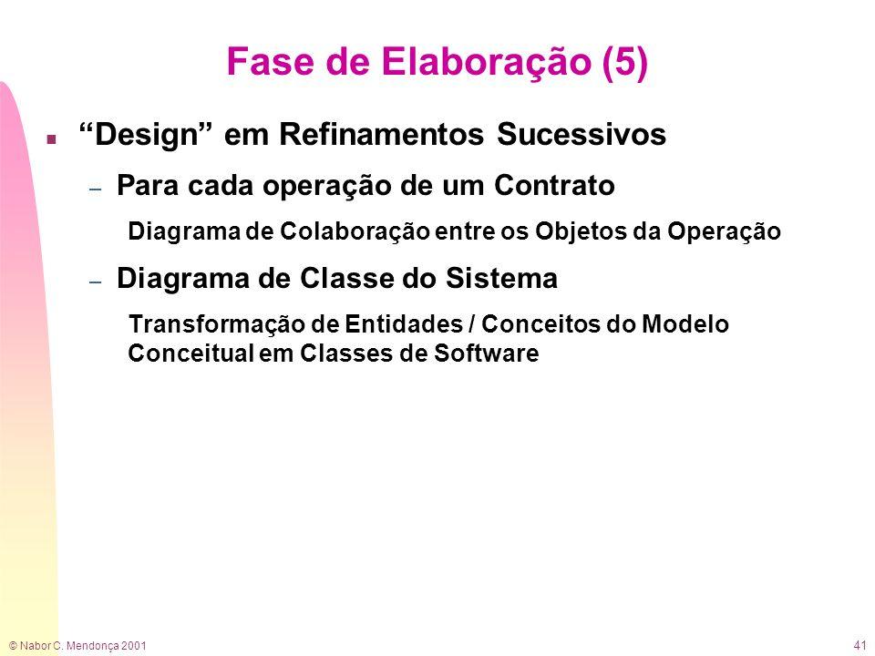 Fase de Elaboração (5) Design em Refinamentos Sucessivos