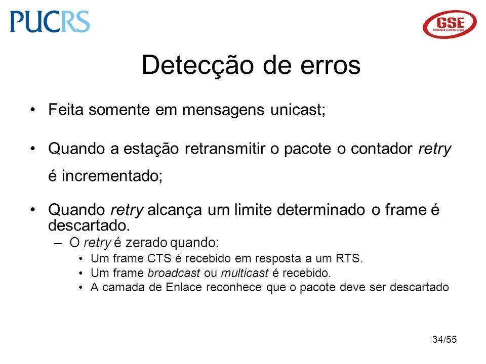 Detecção de erros Feita somente em mensagens unicast;