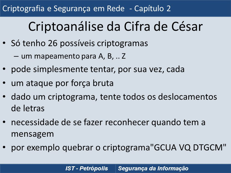 Criptoanálise da Cifra de César