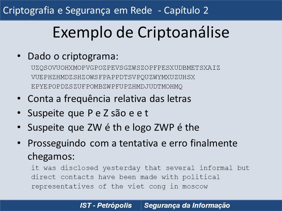Exemplo de Criptoanálise