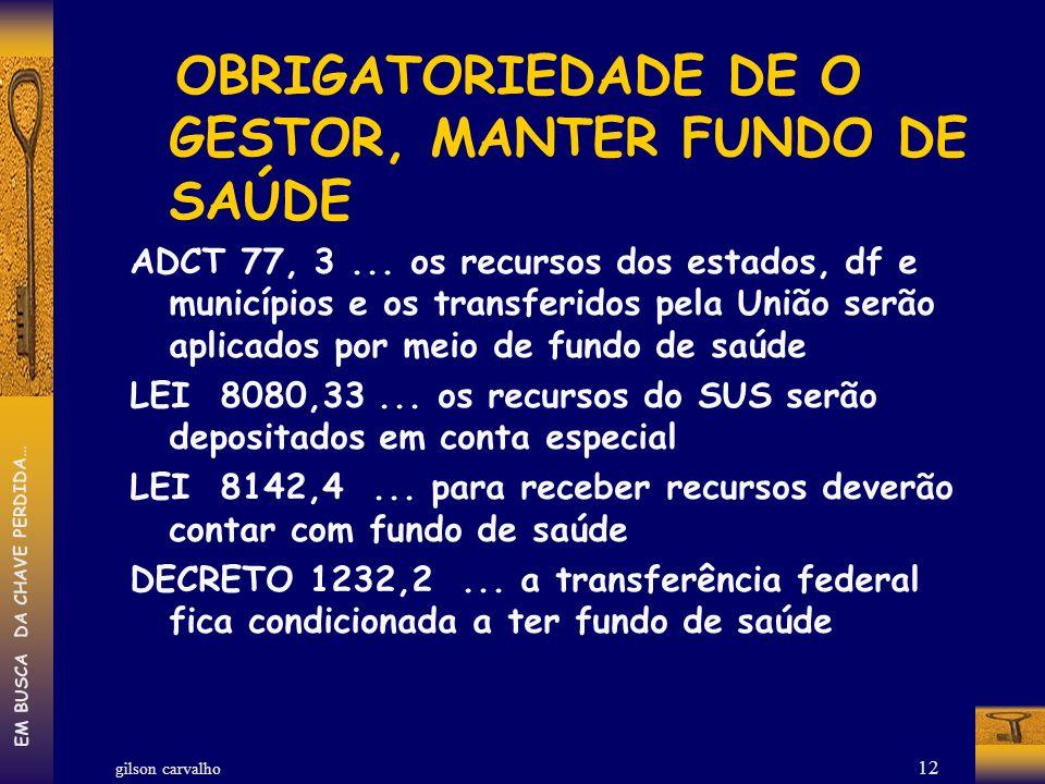 OBRIGATORIEDADE DE O GESTOR, MANTER FUNDO DE SAÚDE