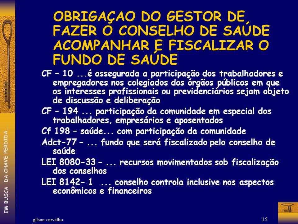 OBRIGAÇAO DO GESTOR DE FAZER O CONSELHO DE SAÚDE ACOMPANHAR E FISCALIZAR O FUNDO DE SAÚDE