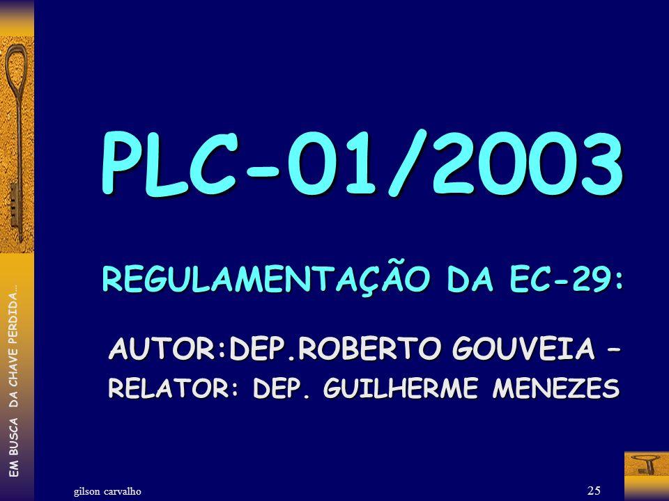 PLC-01/2003 REGULAMENTAÇÃO DA EC-29: AUTOR:DEP.ROBERTO GOUVEIA –