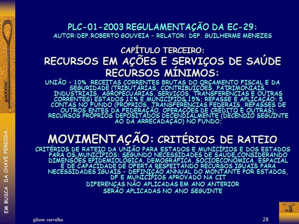 MOVIMENTAÇÃO: CRITÉRIOS DE RATEIO