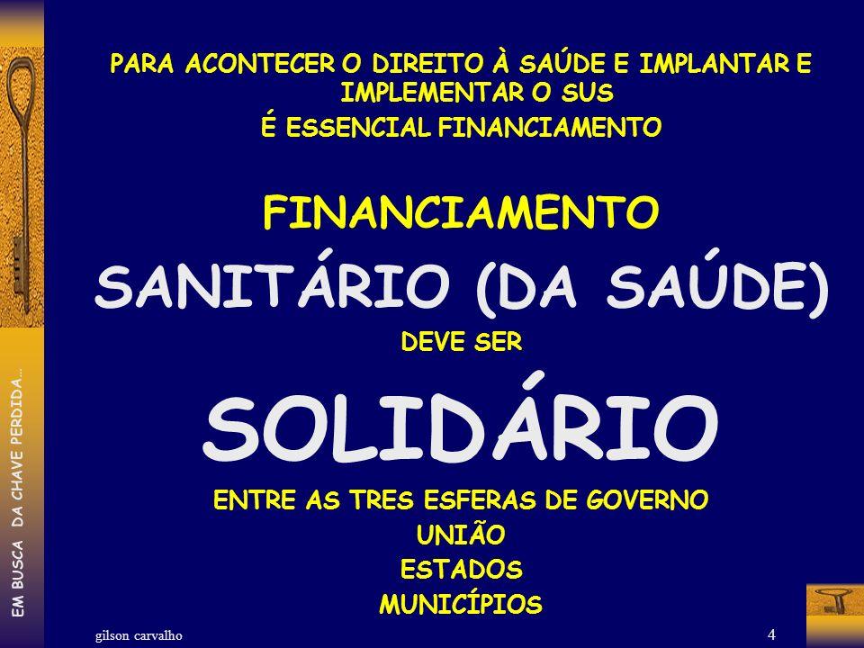 SOLIDÁRIO SANITÁRIO (DA SAÚDE) FINANCIAMENTO
