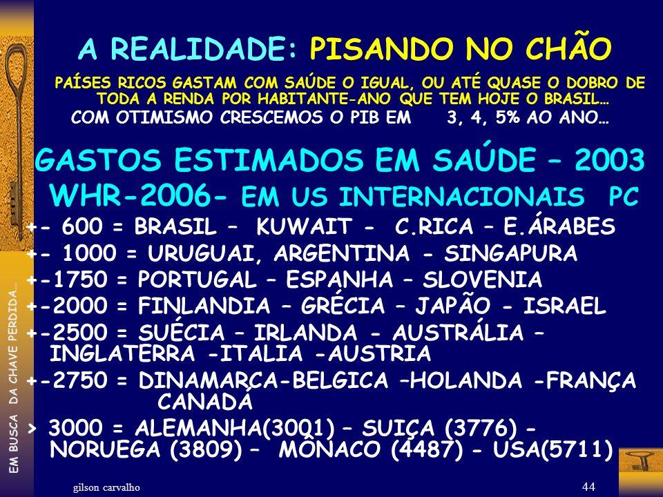GASTOS ESTIMADOS EM SAÚDE – 2003