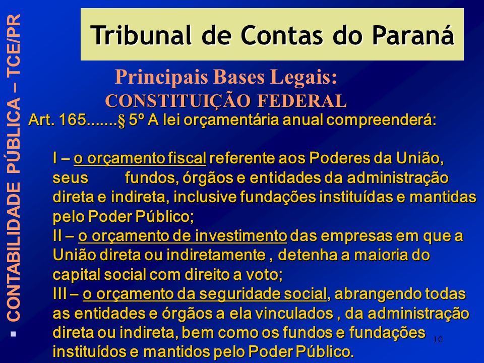 Tribunal de Contas do Paraná Principais Bases Legais: