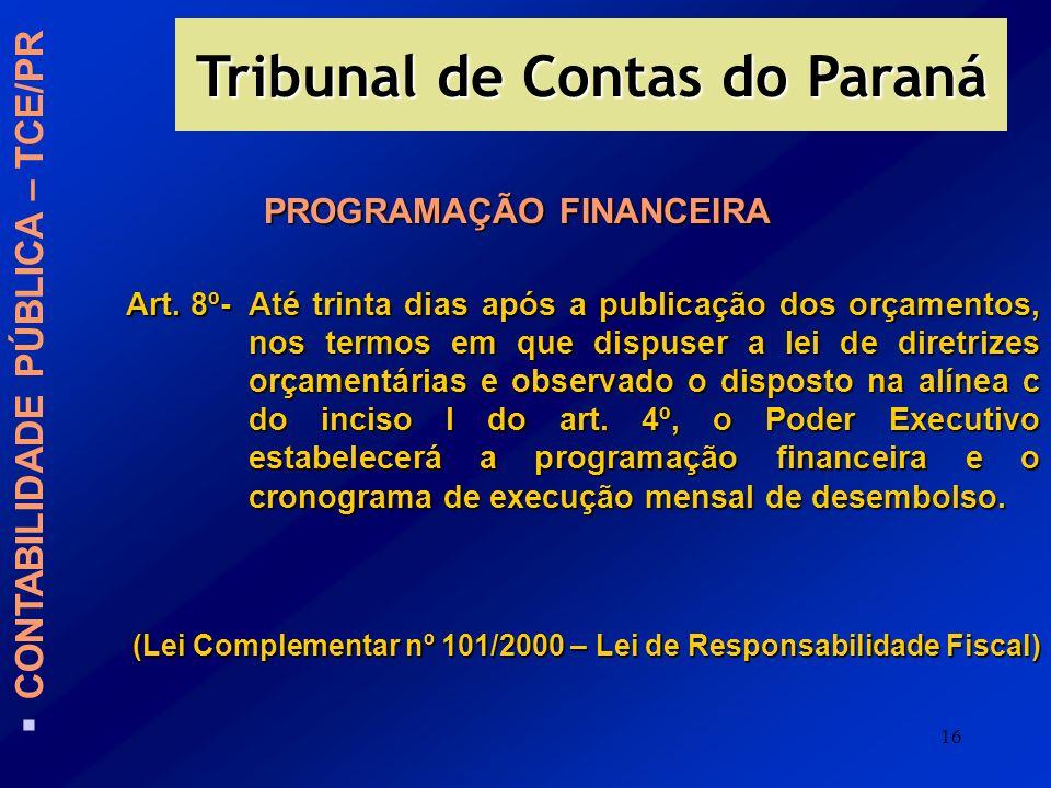 Tribunal de Contas do Paraná PROGRAMAÇÃO FINANCEIRA