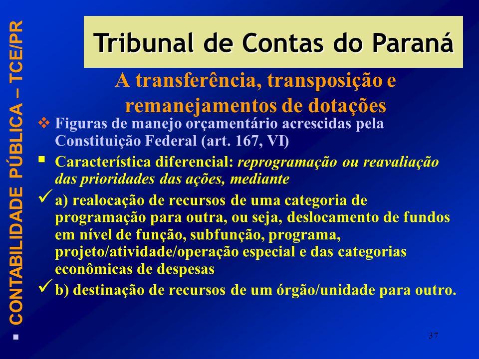 A transferência, transposição e remanejamentos de dotações