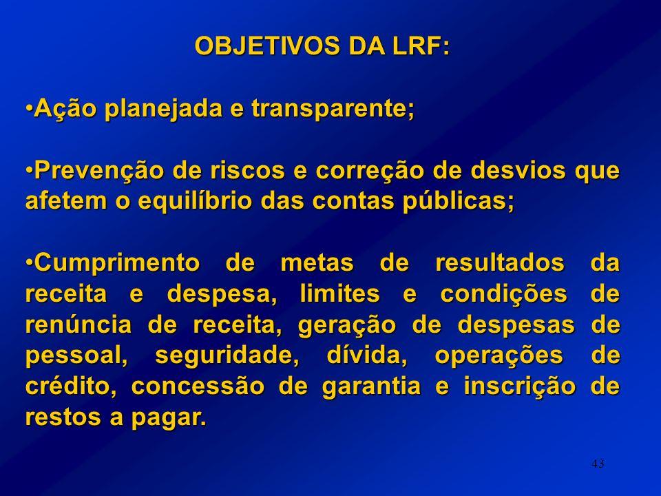 OBJETIVOS DA LRF: Ação planejada e transparente; Prevenção de riscos e correção de desvios que afetem o equilíbrio das contas públicas;