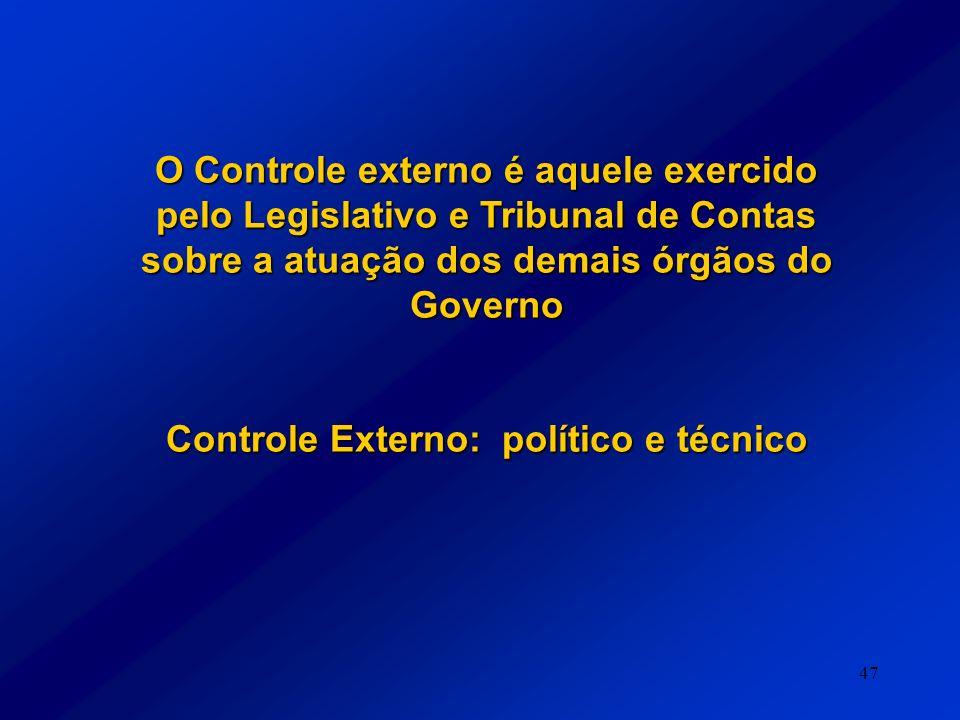 Controle Externo: político e técnico