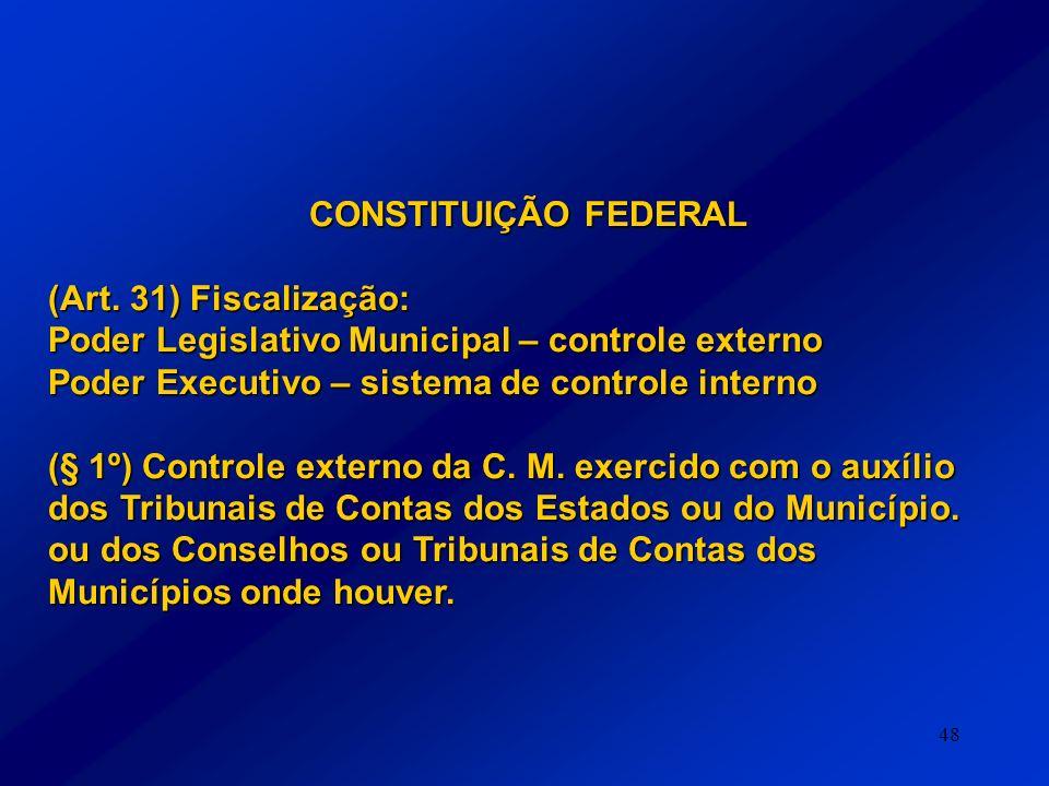 CONSTITUIÇÃO FEDERAL (Art. 31) Fiscalização: Poder Legislativo Municipal – controle externo. Poder Executivo – sistema de controle interno.