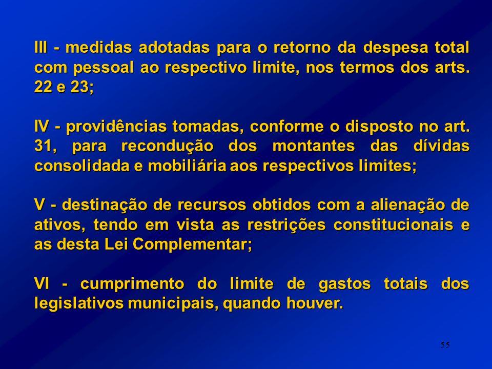 III - medidas adotadas para o retorno da despesa total com pessoal ao respectivo limite, nos termos dos arts. 22 e 23;