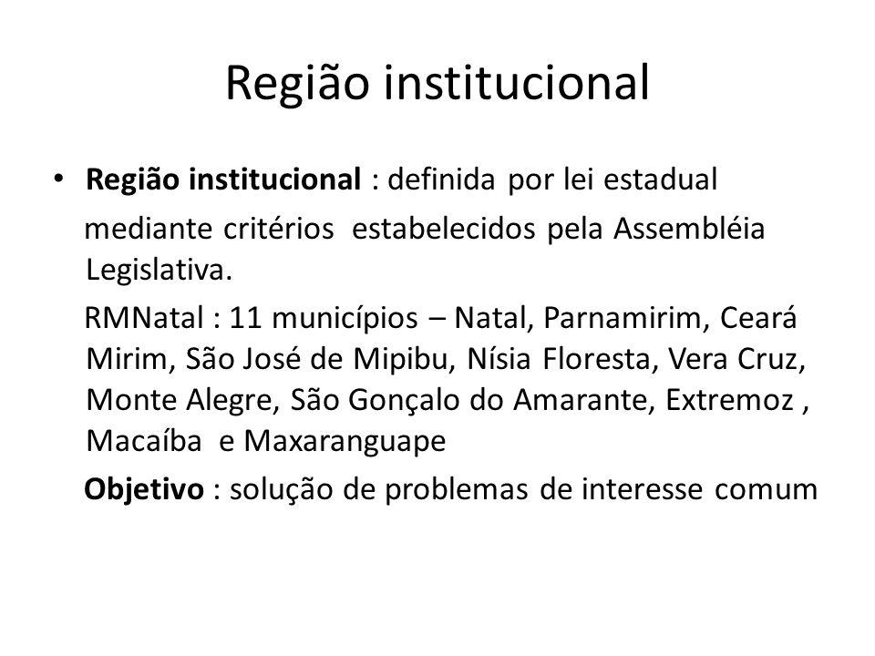 Região institucional Região institucional : definida por lei estadual