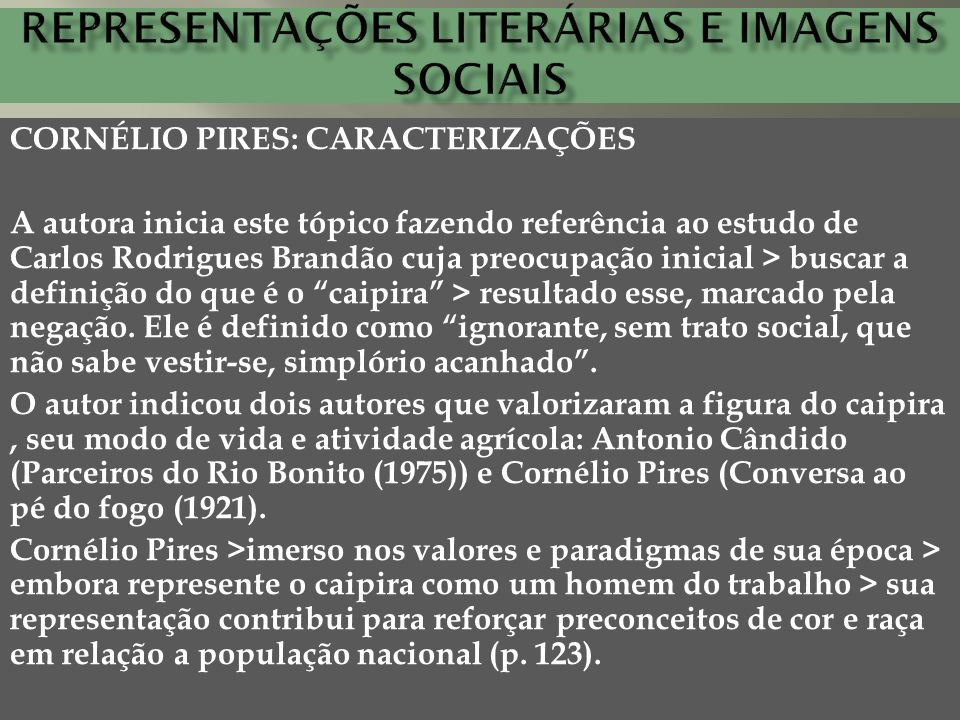 Representações literárias e imagens sociais