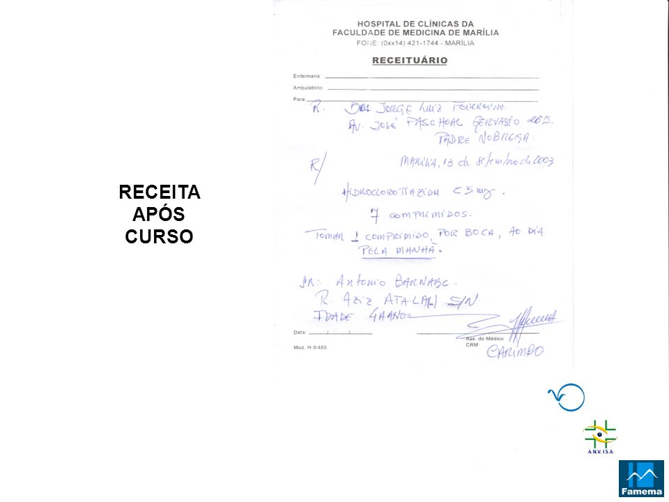 RECEITA APÓS CURSO