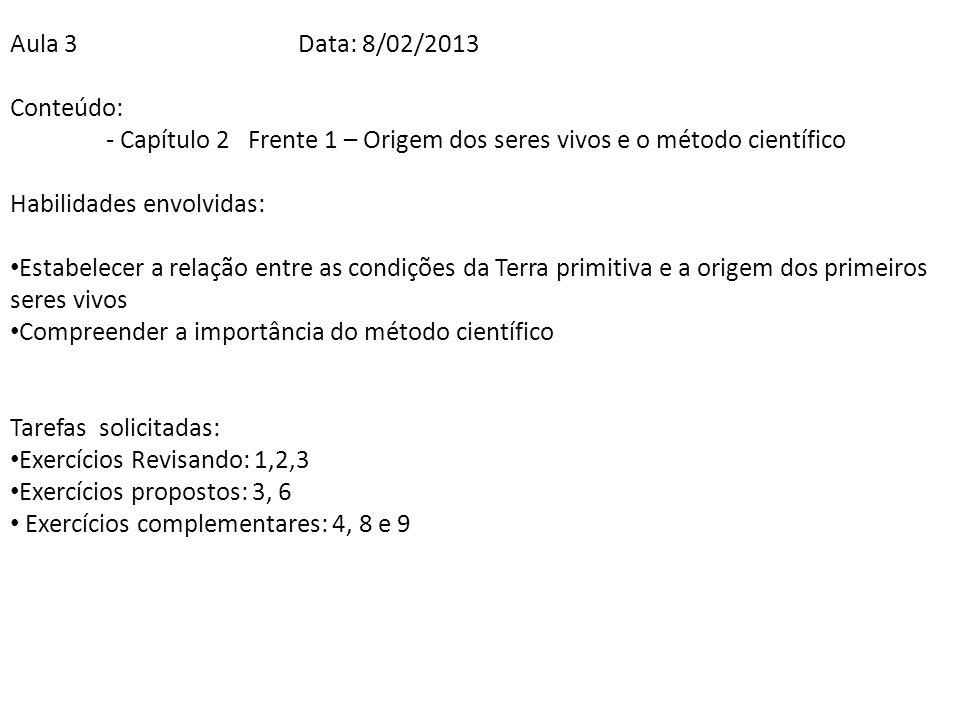 Aula 3 Data: 8/02/2013 Conteúdo: - Capítulo 2 Frente 1 – Origem dos seres vivos e o método científico.