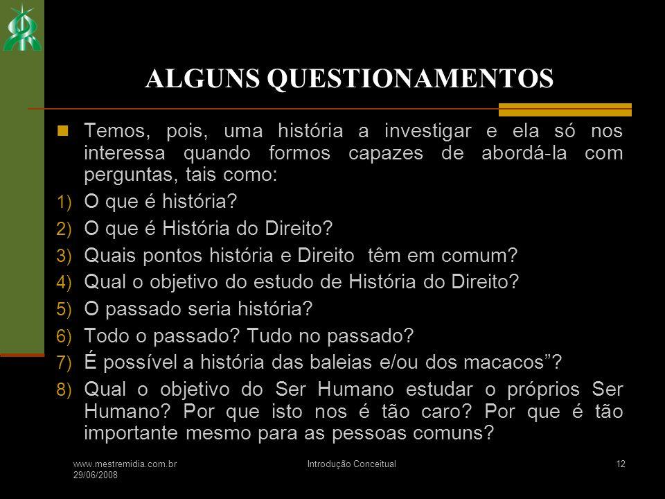 ALGUNS QUESTIONAMENTOS