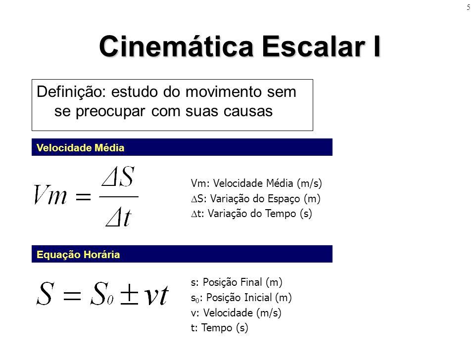 5 Cinemática Escalar I. Definição: estudo do movimento sem se preocupar com suas causas. Velocidade Média.