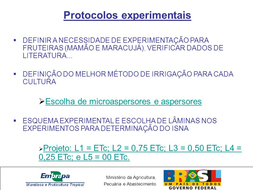 Protocolos experimentais