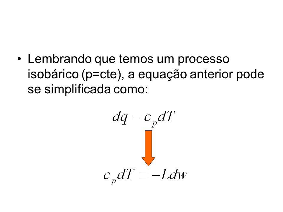 Lembrando que temos um processo isobárico (p=cte), a equação anterior pode se simplificada como: