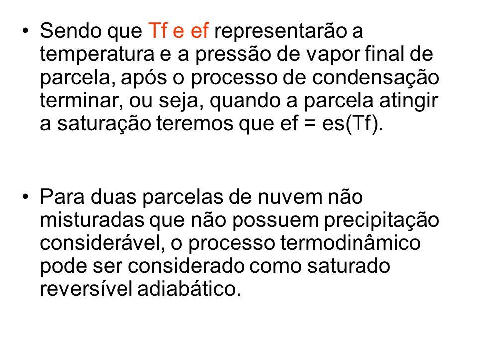 Sendo que Tf e ef representarão a temperatura e a pressão de vapor final de parcela, após o processo de condensação terminar, ou seja, quando a parcela atingir a saturação teremos que ef = es(Tf).