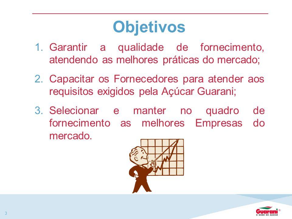 Objetivos Garantir a qualidade de fornecimento, atendendo as melhores práticas do mercado;