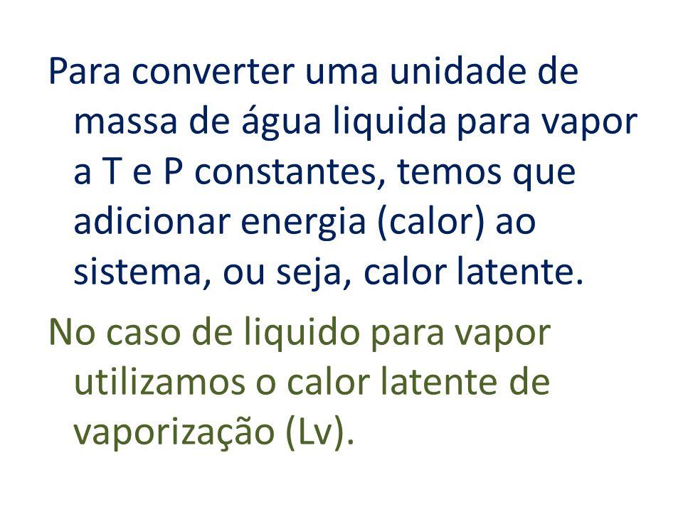Para converter uma unidade de massa de água liquida para vapor a T e P constantes, temos que adicionar energia (calor) ao sistema, ou seja, calor latente.