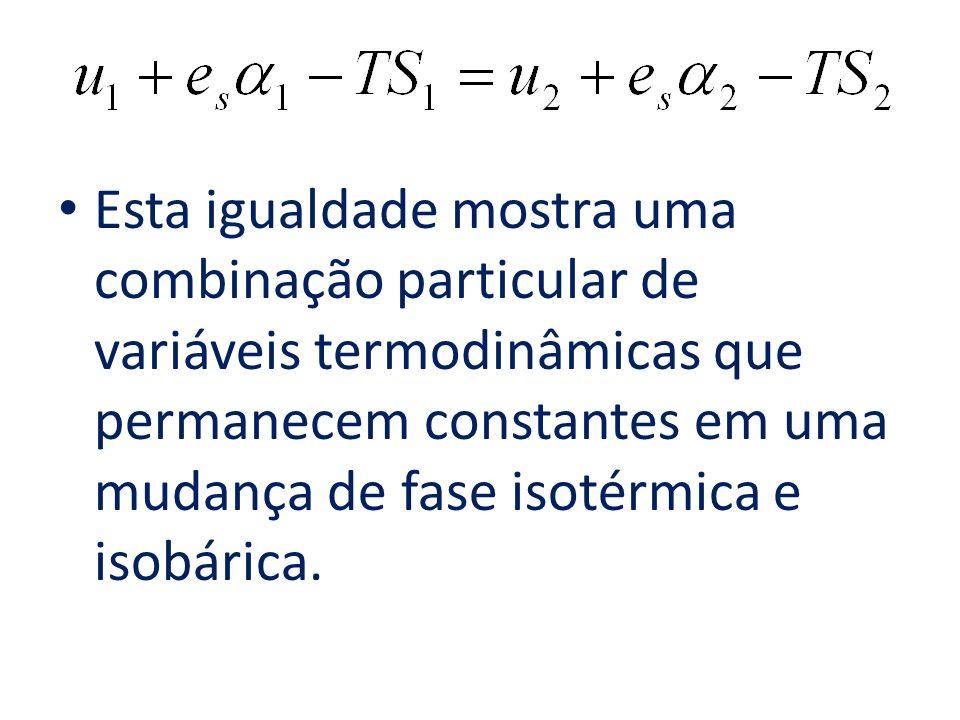 Esta igualdade mostra uma combinação particular de variáveis termodinâmicas que permanecem constantes em uma mudança de fase isotérmica e isobárica.