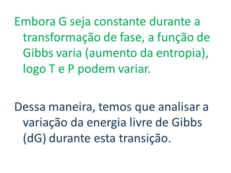 Embora G seja constante durante a transformação de fase, a função de Gibbs varia (aumento da entropia), logo T e P podem variar.