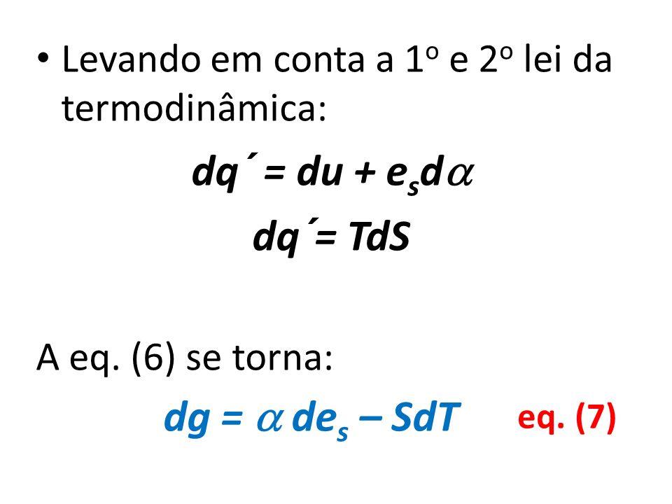 dq´ = du + esd dq´= TdS dg =  des – SdT