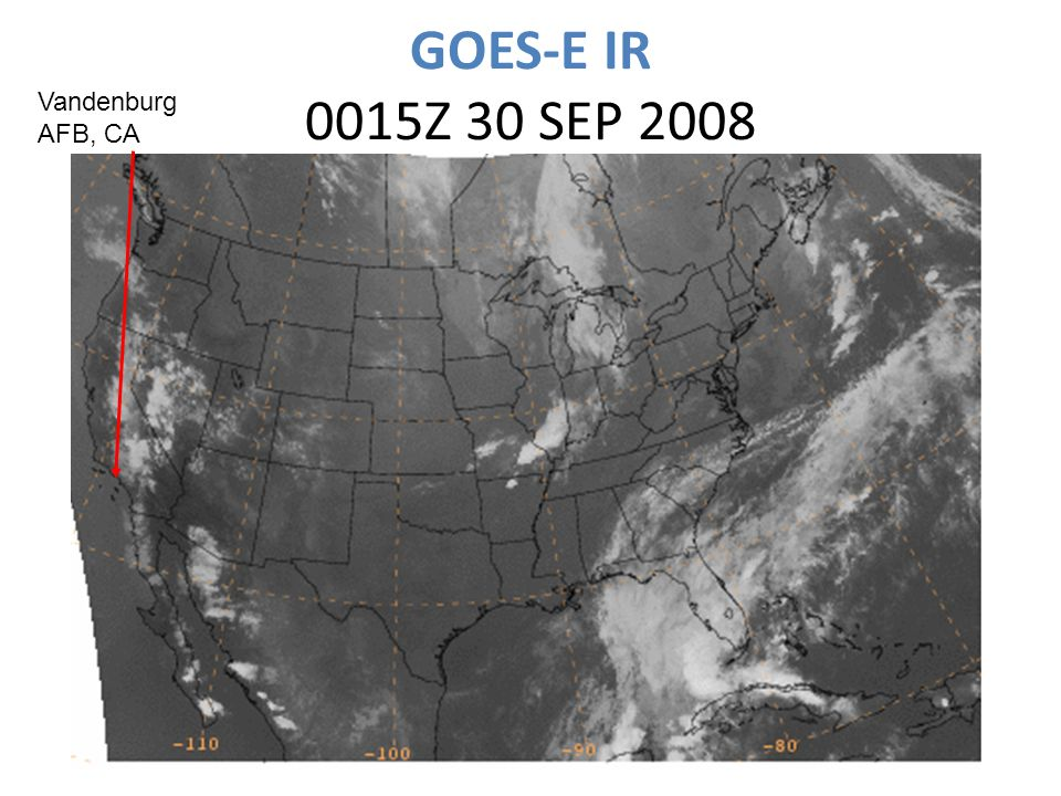 GOES-E IR 0015Z 30 SEP 2008 Vandenburg AFB, CA