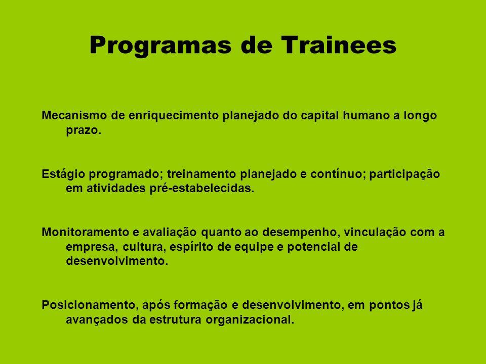 Programas de Trainees Mecanismo de enriquecimento planejado do capital humano a longo prazo.