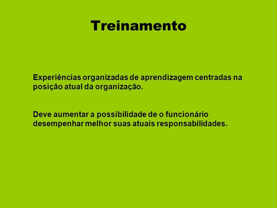 Treinamento Experiências organizadas de aprendizagem centradas na posição atual da organização.