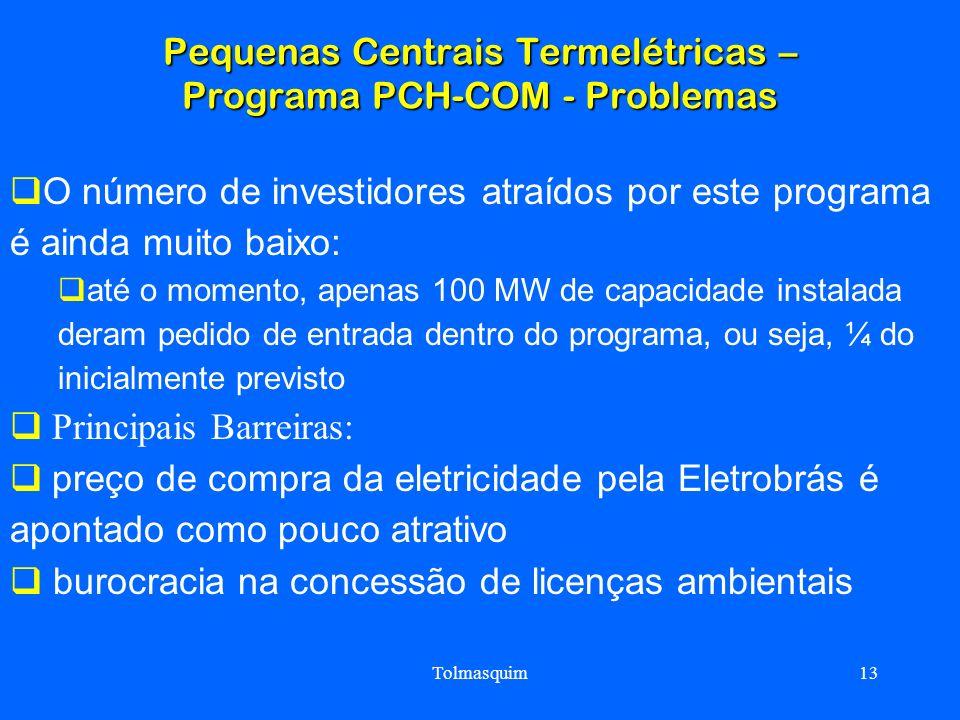 Pequenas Centrais Termelétricas – Programa PCH-COM - Problemas