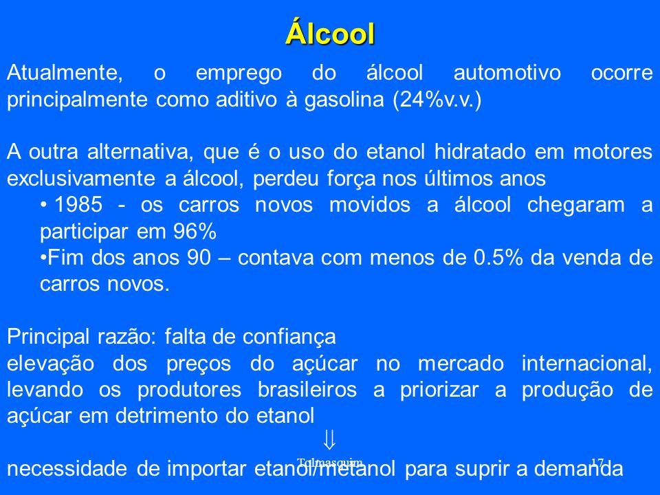 ÁlcoolAtualmente, o emprego do álcool automotivo ocorre principalmente como aditivo à gasolina (24%v.v.)