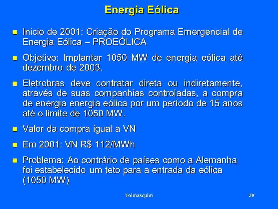 Energia Eólica Inicio de 2001: Criação do Programa Emergencial de Energia Eólica – PROEÓLICA.