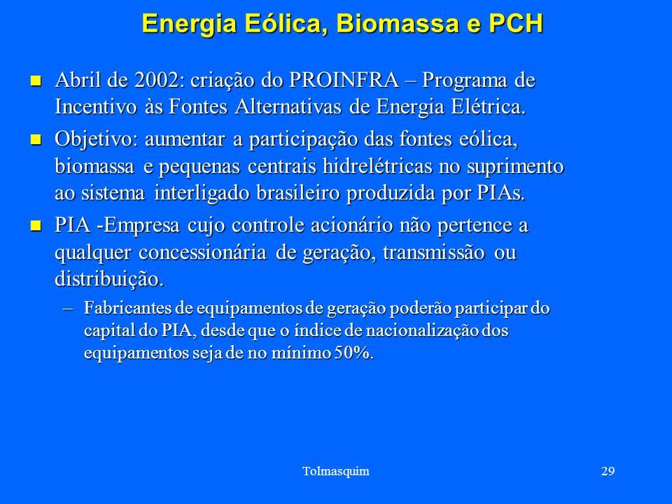 Energia Eólica, Biomassa e PCH