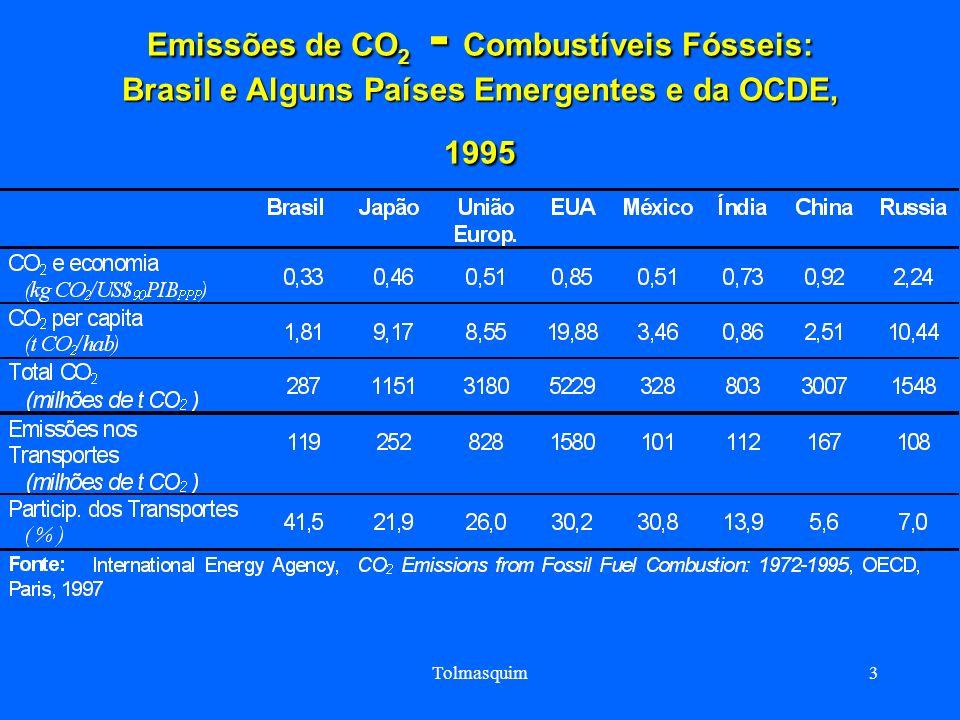 Emissões de CO2 - Combustíveis Fósseis: Brasil e Alguns Países Emergentes e da OCDE, 1995