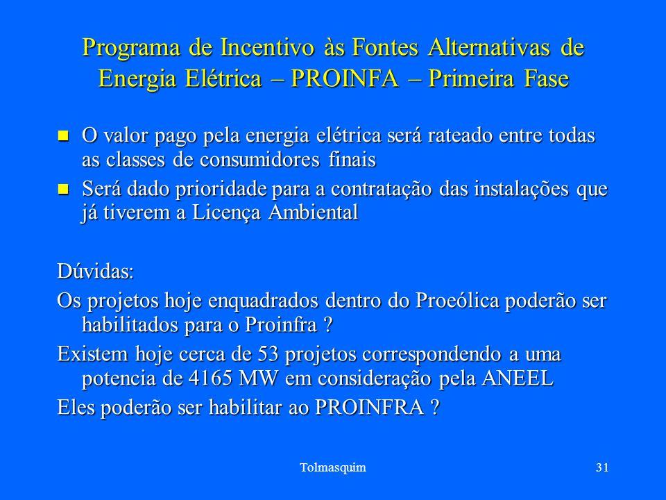 Programa de Incentivo às Fontes Alternativas de Energia Elétrica – PROINFA – Primeira Fase