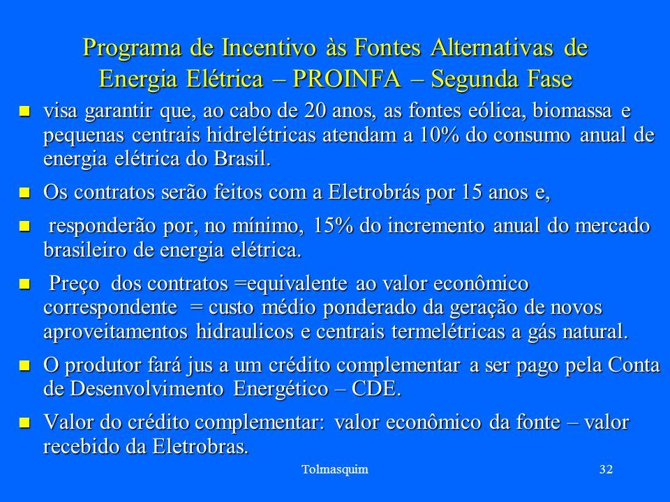 Programa de Incentivo às Fontes Alternativas de Energia Elétrica – PROINFA – Segunda Fase