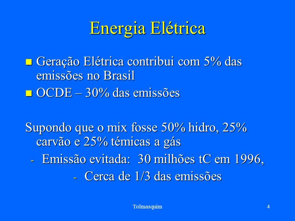 Emissão evitada: 30 milhões tC em 1996,
